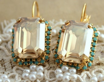 Turquoise Crystal Champagne earring - 14 k plated gold hook earrings real swarovski rhinestones .