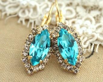 Turquoise Earrings,Swarovski Drop Earrings,Aquamarine Earrings,Bridal Earrings, Drop Earrings,Dangle Turquoise Earrings,Bridesmaids Earrings
