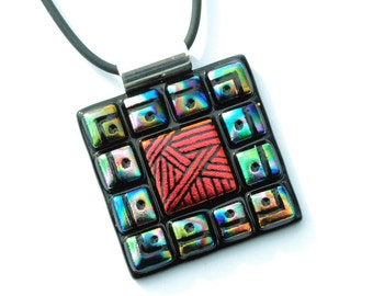 Mosaic Etchings - LARGE Dichroic Glass Pendant Necklace, Fused Glass - Wearable Art, Contemporary, Modern, Colorful (Item 10537-P)