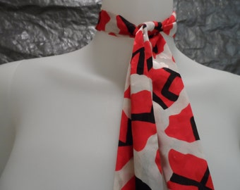 Vintage Red & White Contemporary Print 80's Necktie Scarf  OS