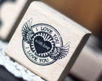 Wooden Rubber Stamp - Vintage Style -With Love Stamp