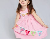 Birthday Dress - Bunting Banner Applique Dress- Personalized Dress- You Choose Dress Color and Sleeve Length