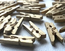 """Gold Mini Clothespins - 25 - 1"""" or 2.5 cm - Wooden - Great for Wedding Favors Scrapbooking and Decorations"""