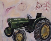 Original Oil Painting - Green Tractor with Abstract White and Pastel Background