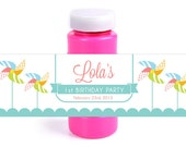 Custom Printable Pinwheel Party Bubble Bottle Favors Label Wraps - Featured on Hostess with the Mostess