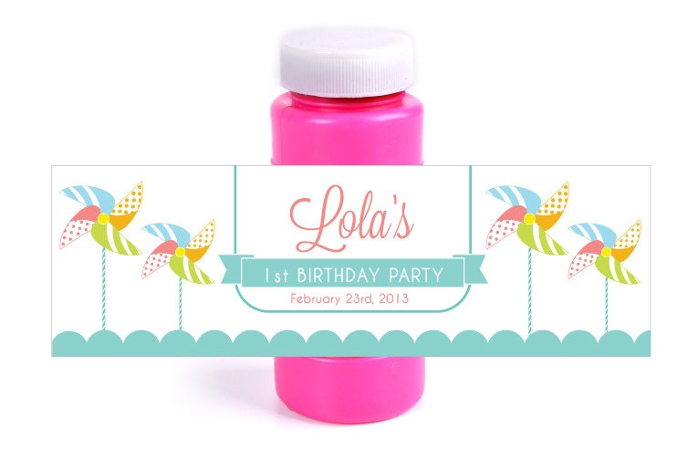 Custom printable pinwheel party bubble bottle by for Bubble bottle label template