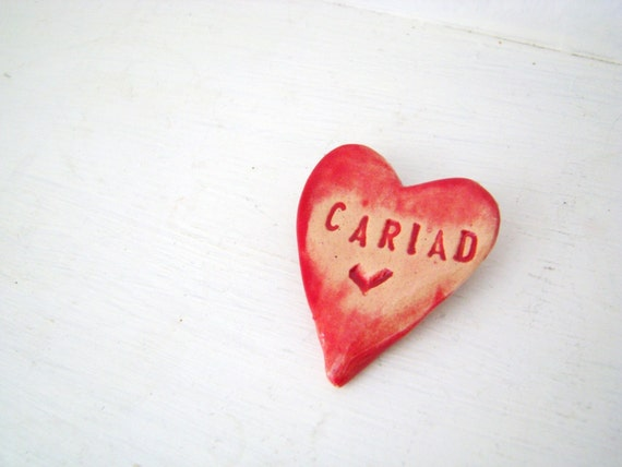 Cariad / Love heart brooch / pin / button / badge. Ceramic. Made in Wales, UK