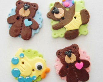 Button Biggy Baby Toys handmade polymer clay buttons ( 1 )