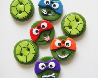 Button Teenage Mutant Ninja Turtles handmade polymer clay buttons ( 7 )