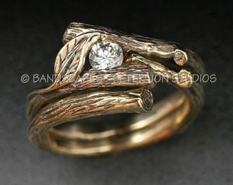 KIJANI WEDDING SET - Natural Diamond.  Twig and Leaf Engagement Ring with Matching Wedding Band.  Done in 14k yellow, white or rose gold