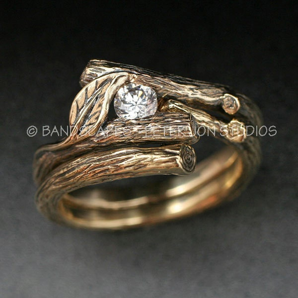 kijani wedding set natural diamond twig and leaf engagement ring with matching wedding band done in 14k yellow white or rose gold - Nature Wedding Rings