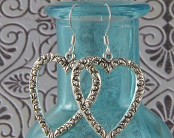 Silverplate Heart Earrings on Silver Hooks