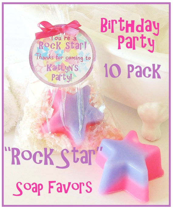 10 ROCK STAR Girls Pink & Purple Soap Birthday Party Favor Pack - personalized, custom gift tag, fun, scented, kids, gift wrapped, natural