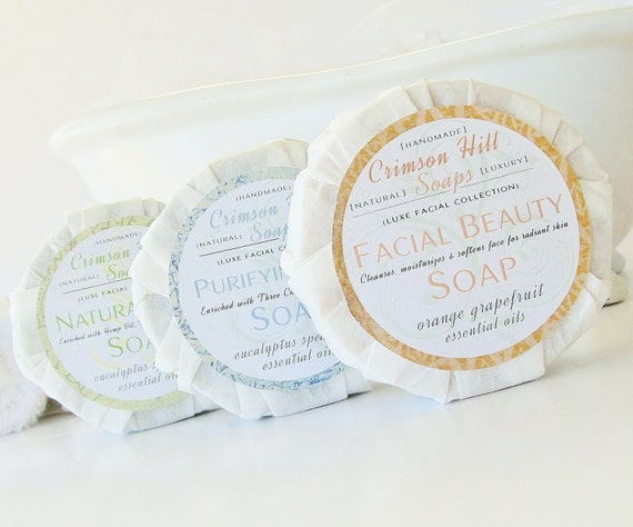 Natural Facial Soap Sampler Set - 3 Round Soaps, face wash, cleanser, acne cleanser, clay, skin care, glycerin