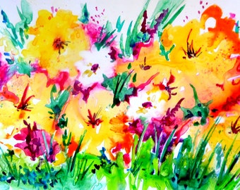 Watercolor Flowers Garden Colorful Yupo Paper by Artist Martha Kisling