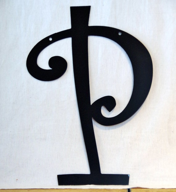 "Items similar to 16"" Steel Metal Letter P Curlz Font ..."