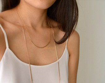 Rose Gold Double Bar Necklace