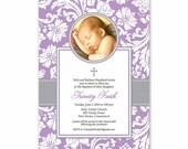 Baptism Photo Invitation Announcement - Vintage Look Floral Wallpaper - Baby Boy Girl - diy printable digital design