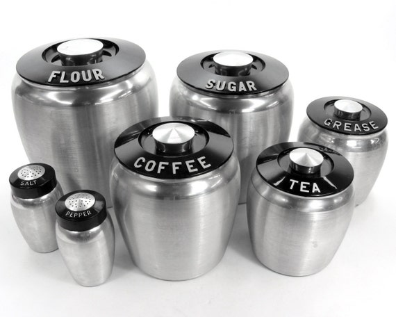 Vintage Aluminum Kromex Deco Canisters Set / Flour Sugar Coffee Tea Grease Salt and Pepper