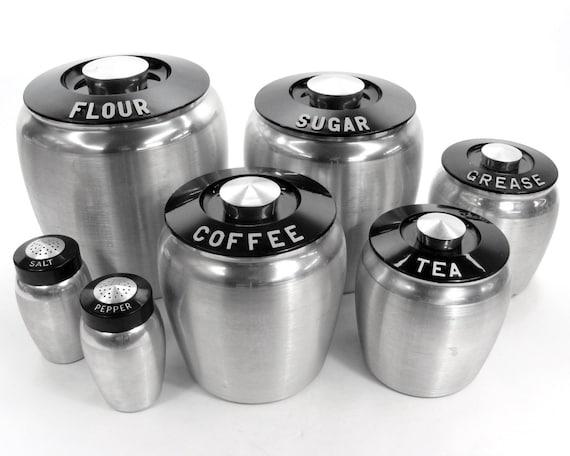 Vintage Aluminum Kromex Deco Canisters Set / Flour Sugar Coffee Tea Grease Salt and Pepper