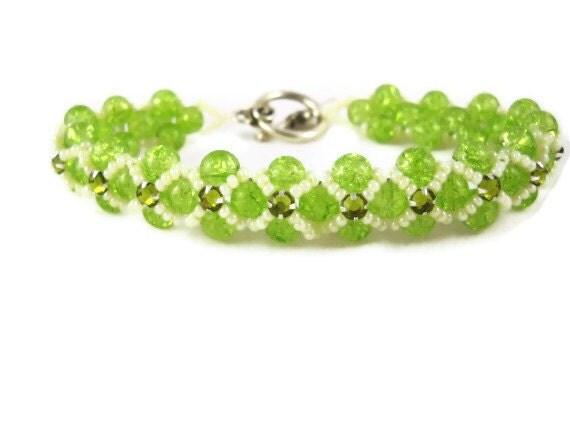 Montee Beaded Bracelet Green Beadwork bracelet