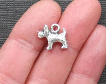 8 Dog Charms Antique  Silver Tone 2 Sided and 3D - SC1863