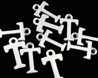 8 Letter T Alphabet Charms Silver Plated Great for So Many Projects - SC2355