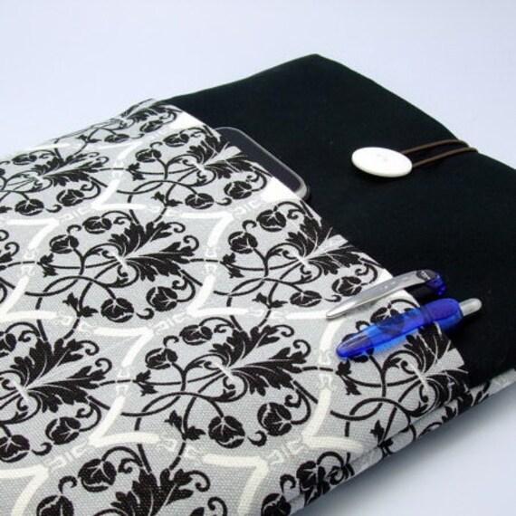 SALE iPad Air case 2, iPad cover, iPad sleeve/ Samsung Galaxy Tab 3 10.1with 2 pockets, PADDED  - Damask on Grey