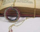 Ruby and Sapphire w 14kt GoldFill Infinity Necklace, Handmade Wirewrap Gemstone Necklace, Precious Gems Necklace, Ruby Sapphire Necklace
