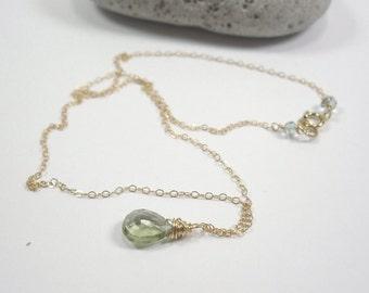 Green Amethyst Prasiolite Necklace,Handmade Wirewrap Necklace, Green Amethyst Gem Drop Necklace, Green Amethyst & Aquamarine w 14kt Goldfill