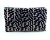 Pleated Pouch/ Zipper Pouch/ Navy Blue Pouch/Wallet/Gift for Women/Colorful/Herringbone/White - Eyelah