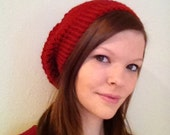 Red Crochet Slouchy Ready To Ship Hat Fits Teen to Women