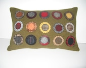 Primitive Wool Penny Rug Pillow Army Green JKB