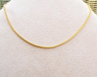 Gold--3mm Mesh chain necklace BUY 4 GET 1 FREE for European charms and beads, three sizes Hollow Snake Chain