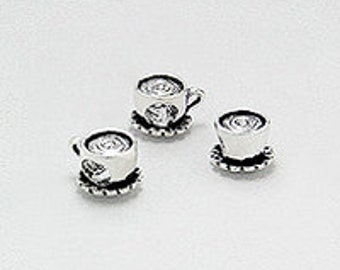 Coffee Tea or Me/ large hole sterling silver bead