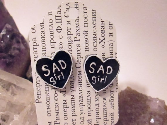 For Jayde - SAD GIRL - Small Black and White Heart Shaped Conversational Style Stud Post Earrings - Made to Order