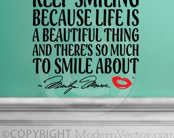MARILYN MONROE Quote Vinyl Wall Decal Lettering Keep Smiling Life's Beautiful