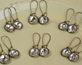 Earrings SIX SETS for Bridal Party, Antique Brass with Swarovski Crystal on Kidney Shaped Wires, Bridesmaid Gifts