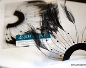Black Beaded Hackle Feather Trim - Feathers for Flowing Accents