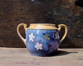 Lusterware Open Sugar Bowl Blue Peach Bird And Blossoms Vintage Japan