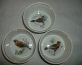 Vintage Lourioux Le Faune Fireproof Porcelain Bird Ramekins Made In France Set Of Three