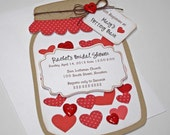 Bridal Wedding Shower Invitations, Rustic Red Mason Jar Card with Hearts, Set of 12