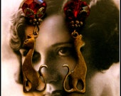 Graceful Cat Earrings - Antiqued Brass & Red Crystal