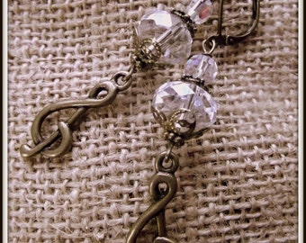 Musical Treble Clef Vintage Style Antiqued Brass and Crystal Earrings
