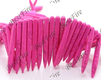 20-50mm Belonoid Dyed Hot Pink Turquoise Loose Beads strand,gemstone beads,loose turquoise beads 15inch