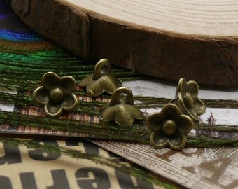 50pcs 8mm Antique Bronze Lovely flower Charm Pendant ,metal finding,pendant findings