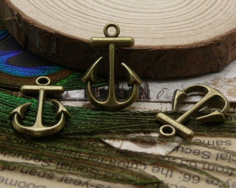 10PCS 15x23MM Antique Bronze Perfect  Anchor Charm Pendant Earrings falling beads