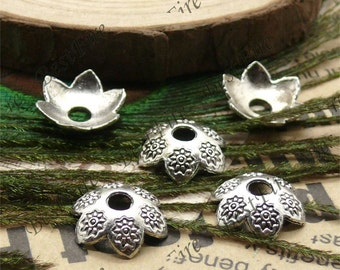 30 pcs of Antique silver metal lovely flower bead cups 15mm,beadcap findings
