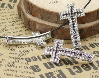 2pcs of 20x36mm silver tone Sideways Cross Rhinestone Connector,Cross Bracelet Connector,bangle findings