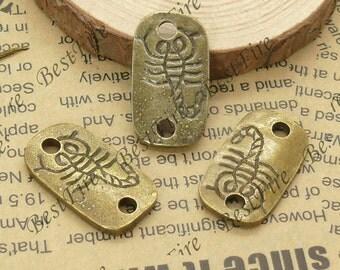 10 pcs 16x28mm  Antique Bronze Scorpion,Two Hole Scorpion,Scorpid Charm Connectors,Bracelet  Connectors Pendant Charms,findings